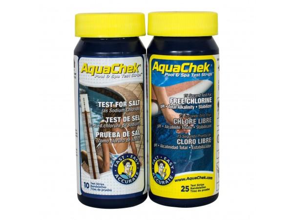 Aquacheck medición de sal, cloro libre, pH, alcalinidad e isocianúrico