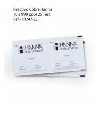 Reactivo Cobre Hanna HI747-25 (0 a 999 ppb)