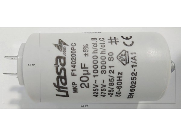 Condensador 20uF para motor monofásico de piscina