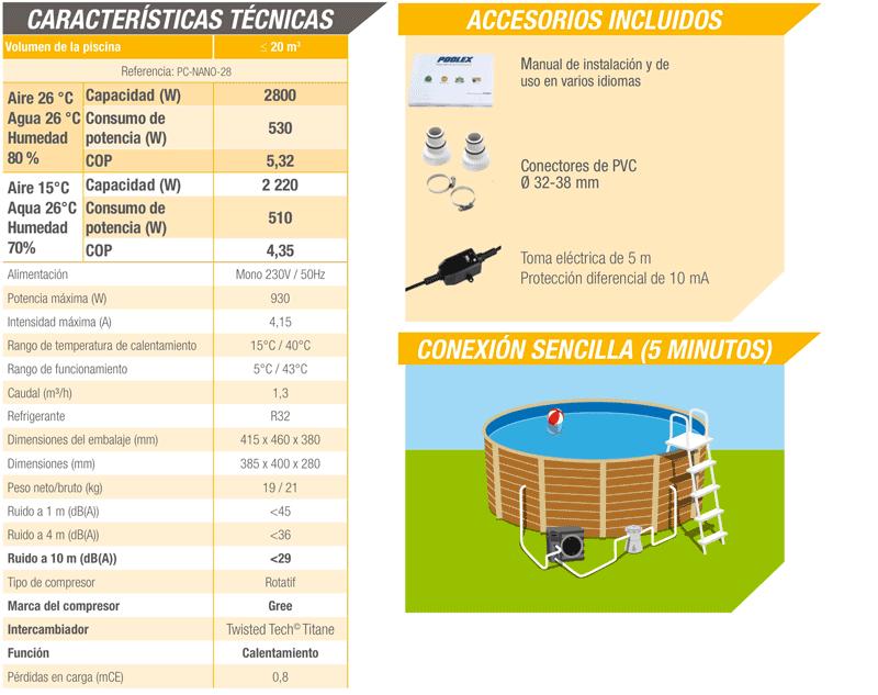 Bomba de calor Nano para piscinas desmontables