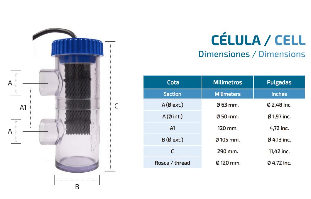 Tamaño de la celula del clorador salino saliclor