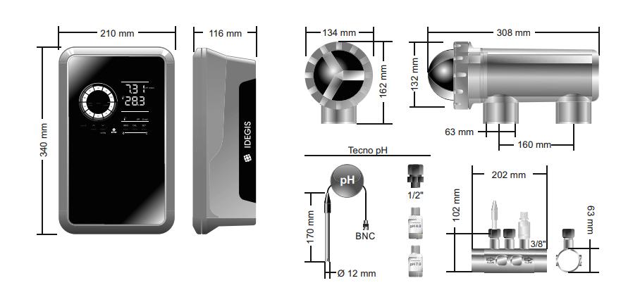 Dimensiones clorador salino idegis domotic serie 2 con control de pH