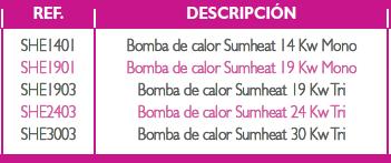 Modelos de bomba de calor Sumheat
