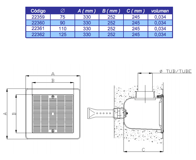 Medidas sumidero Astralpool 330x330 mm